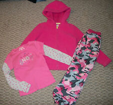 OSHKOSH 3 PC. JACKET TOP & CAMO PANTS OUTFIT SET GIRLS SZ 6 PINK OR BLUE EUC