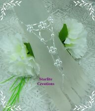 Barefoot Sandals  Silver & White Pearl  V Style Bridal Foot Jewellery  1 pair