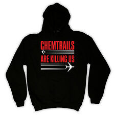 CHEMTRAILS ARE KILLING US CONSPIRACY THEORY COVER UP HOODIE ALL COLS & SIZES