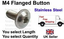 M4 / 4mm Stainless Flanged Button - M4 /m4 Flanged Button Bolts - Any Length/Qty
