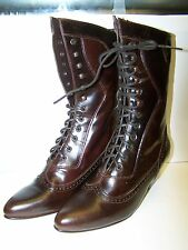new OAKTREE FARMS STEEPLE BRANDY LEATHER GRANNY STYLE LACE UP BOOT BEST QUALITY