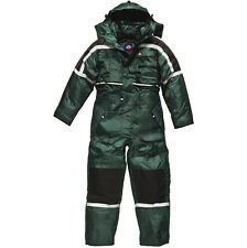 DICKIES WATERPROOF PADDED COVERALL GREEN WP15000 HOOD QUILTED LINING MENS