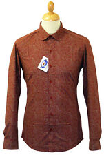NEW SIXTIES MENS RETRO PAISLEY PENNY ROUND COLLAR BUTTON DOWN MOD SHIRT 5D RED