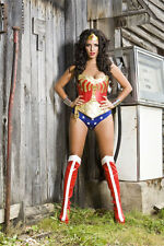 wonder woman corset costume with hotpants, briefs,skirt AND BRASS CUFFS