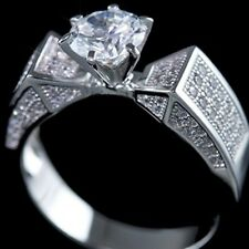 Fancy .925 Sterling Silver Cubic Zirconia CZ Prong Bridal Engagement Band Ring