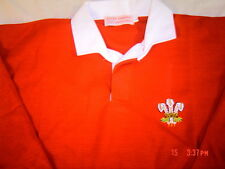 WALES RETRO ADULTS CLASSIC WELSH RUGBY SHIRT FEATHERS FULL SLEEVE S  M  L XL XXL