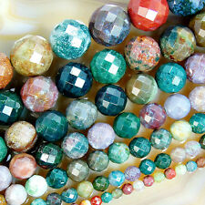 "Faceted Natural Indian Agate Round Beads 15"" 4 6 8 10 12 14 16mm Pick Size"