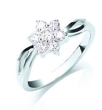 Rhodium Finish Sterling Silver 7 Rounds Cluster Ring