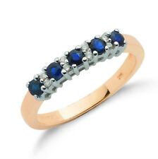 9ct Yellow Gold Real Sapphire and Diamond Eternity Ring