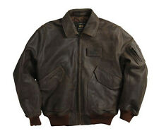 NEW ALPHA INDUSTRIES CWU 45/P COWHIDE LEATHER FIGHTER PILOT JACKET BLACK BROWN