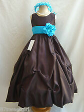 NWT PO1 BROWN / TURQUOISE WEDDING CHRISTMAS FLOWER GIRL DRESS ALL SIZE
