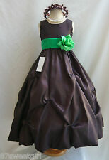 NWT PO1 BROWN / KELLY GREEN DAVIDS WEDDING CHRISTMAS PAGEANT FLOWER GIRL DRESS