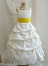 SPU IVORY / BRIGHT YELLOW WEDDING PARTY RECITAL GOWN PAGEANT FLOWER GIRL DRESS