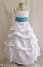 SPU WHITE TURQUOISE WEDDING PARTY RECITAL GOWN PAGEANT FLOWER GIRL DRESS