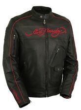 ED HARDY LEATHER ARMORED MOTORCYCLE BIKER JACKET HOODED DO OR DIE BORN FREE