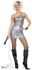 80's Diva Pop Rock Star Tina Turner Silver Sexy Dress Up Halloween Adult Costume