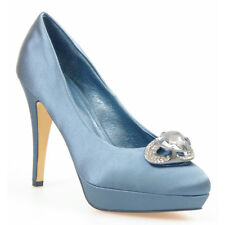 WOMEN SHOES DESIGNER PETROL BLUE SATIN DIAMANTES HIGH HEELS PARTY EVENING