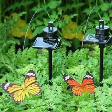 Solar Powered Fluttering Flying Red or Yellow Garden Butterfly Very Life Like