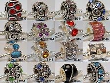 European Charm Bead with Rhinestones for Bracelet YOU CHOOSE COLOR &/OR STYLE
