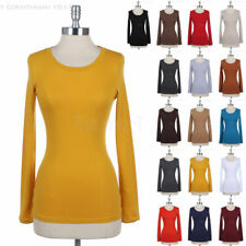 Casual Basic Round Neck Cotton Solid Plain Long Sleeve Tee Shirt Top Easy Wear