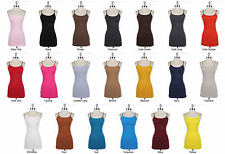 Basic Plain Cotton LONG Camisole TUNIC Tank Top Adjustable Spaghetti Strap S M L