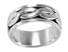 Mens Spin Spinning Ring Sterling Silver 925 Modern Valentines Jewelry Gift US
