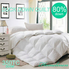 80% WHITE DUCK DOWN 350TC COVER QUILT/DOONA/DUVET King/Queen/Double/Single Bed