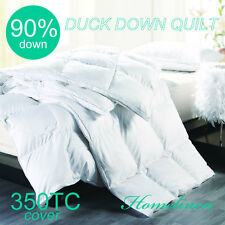 90% WHITE DUCK DOWN 350TC COVER QUILT/DOONA/DUVET King/Queen/Double/Single Bed