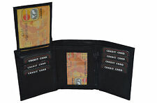 CHRISTMAS GIFT SALE - Men's Trifold wallet with pull out flap black brown tan