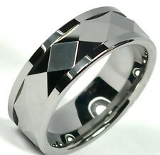 Tungsten Carbide Ring Spinning Faceted Wedding Band Unisex Titanium Color 8mm
