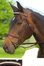 New Black Leather comfort padded bridle German bling browband black/brown