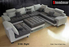 5PC MODERN 2-TONE MICROFIBER BIG SECTIONAL SOFA S150RDG