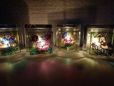 LOT DE 4 BOUGEOIRS / PHOTOPHORES MIROIR + VERRE DECOR RELIEF/ 4 MODELES AU CHOIX