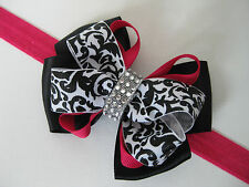Girls Black White Damask Scroll Rhinestone Valentine Hair Bow Headband Clip Pink