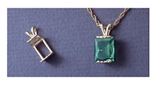 (8x6-16x12mm) Sterling Silver Emerald Plate Style Pre-Notched Pendant Setting