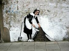 LARGE WALL POSTER - BANKSY MAID CLEANER WALL GRAFFITI - Large Photo Print A2 A1