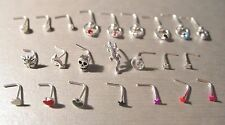 3 x 925 Sterling Silver Nose Studs SHAPES Pins Rings *Choose Design Size Colour