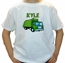 GREEN GARBAGE TRUCK PERSONALIZED KIDS T-SHIRT white grey