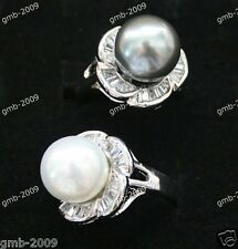 Jewelry Round 12MM Genuine South Sea Shell Pearl 18KGP Ring Size 8/9/10
