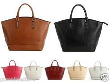 New Womens Designer Ostrich Pattern Leather Tote Handbags Shoulder Bags Bucket