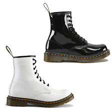 Dr. Martens Ankle Boots Classic 1460 Patent  Lace up Black & White Size UK 4 - 9