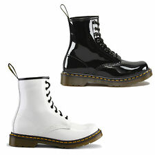 New Dr Martens 1460 Patent Black & White Boots Ladies Shoes Size UK 4-9