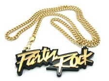 "Cool Iced Out Hip Hop LMFAO Party Rock Pendant & 36"" Cuban Chain Necklace"