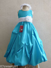 TURQUOISE CORNFLOWER WHITE FLOWER GIRL DRESS SIZE 2T 2 3T 4 5 6X 6 7 8 10 12 14