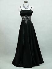 Cherlone Satin Black Long Ball Sparkle Wedding/Evening Gown Bridesmaid Dress
