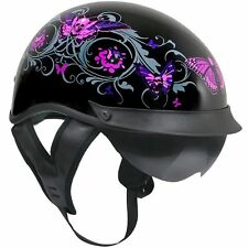 PINK SKULL BUTTERFLY DUAL VISOR  DOT WOMENS Motorcycle Helmet LADIES Outlaw NEW