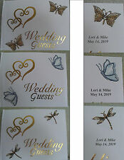 HEART Personalized BUTTERFLY or DRAGONFLY Wedding GUEST BOOK Garden Spring