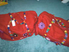 NEW ANTHROPOLOGIE RANJIT BUSCH RED WOOL OR PINK FLOWER LARGE DUFFLE -GREAT GIFT!