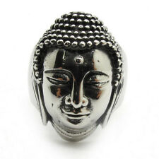 Thailand Style Men's Buddha Head 316L Stainless Steel Silver Ring