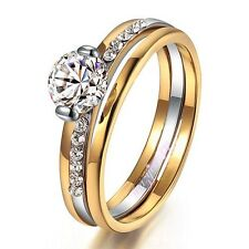bride gift party gorgeous wedding 18k yellow gold plated GP crystal ring R99